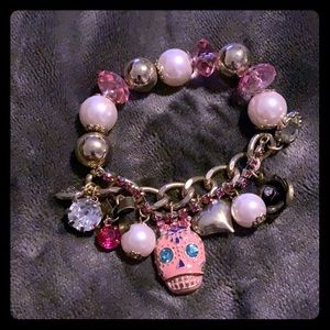 Betsey Johnson Pink Skull Stretchy Bracelet